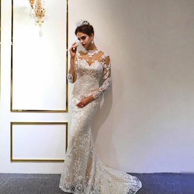 Vestido de novia marfil de encaje sirena de cuello alto de moda con sobrefalda_4