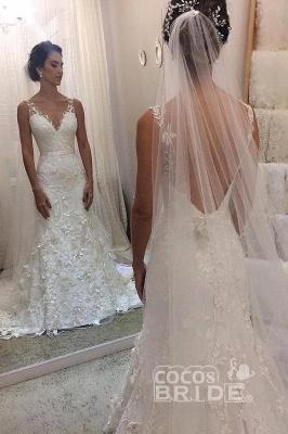 Vestido de novia blanco sirena sin mangas con cuello en V y cola de corte_2