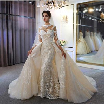 Vestido de novia marfil de encaje sirena de cuello alto de moda con sobrefalda_2