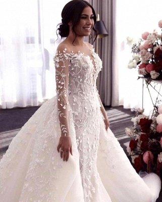 فستان زفاف أبيض مكشوف الأكتاف برقبة على شكل V مع تنورة كبيرة_3