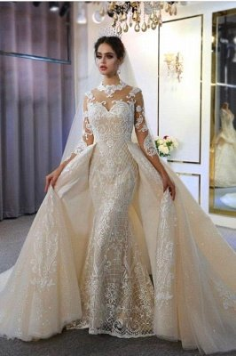 Trendy High neck Mermaid Lace Ivory Wedding Dress with Overskirt