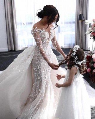 فستان زفاف أبيض مكشوف الأكتاف برقبة على شكل V مع تنورة كبيرة_2