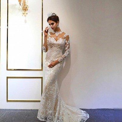 Robe de mariée ivoire en dentelle sirène à col haut à la mode avec jupe_4