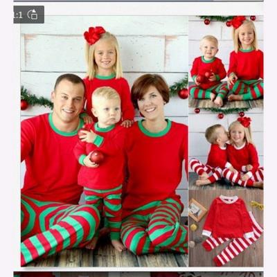 Подходящие семейные пижамы наборы рождественские пижамы с Рождеством оленей_16