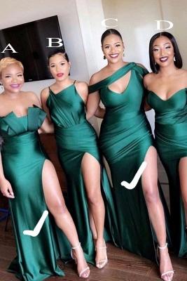 فستان فريد من نوعه بدون حمالات من الساتان الأخضر الزمردي المرن بدون حمالات_1