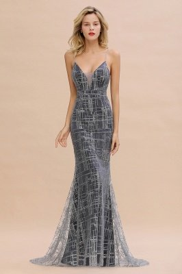 Funkelnde Spaghettiträger Mermaid Prom Dress Ärmelloses Sweetheart Evening Party Dress