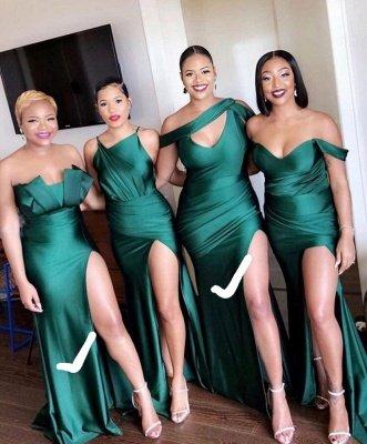 Unique Off-the-shoulder Strapless Emerald Green Elastic Satin Long Bridesmaid Dress_2