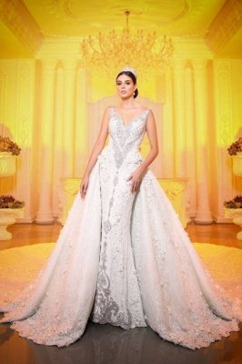 Luxurious V-Neck Crystals Mermaid Bridal Gown Long Sweep Train