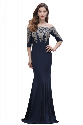 Off the Shoulder Half Sleeves Mermaid Evening Dress Gold Appliques Prom Dress_4