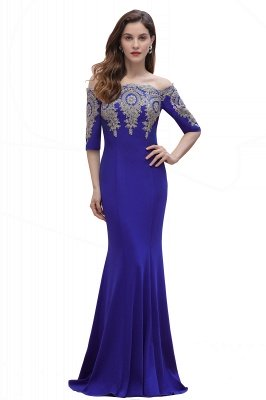 Off the Shoulder Half Sleeves Mermaid Evening Dress Gold Appliques Prom Dress_3