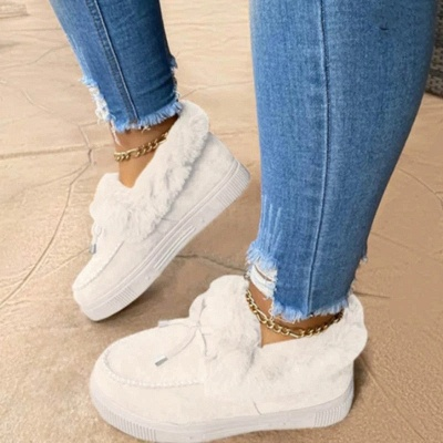 Модные теплые меховые ботинки на плоской подошве с круглым носком Daily Round Toe_1