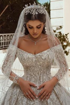 Luxurious Ball Gown Sequins Bridal Dress Long Sleeve Satin Maxi Dress_3
