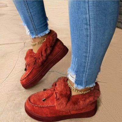 Модные теплые меховые ботинки на плоской подошве с круглым носком Daily Round Toe_4