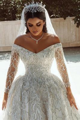 Vestido de fiesta de lujo con lentejuelas Vestido de novia Vestido largo de satén de manga larga