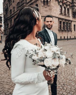 Mermaid Wedding Dress Long Sleeve Satin Bridal Gowns_5