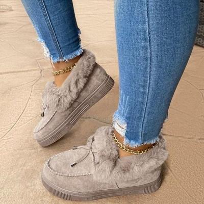 Модные теплые меховые ботинки на плоской подошве с круглым носком Daily Round Toe_6