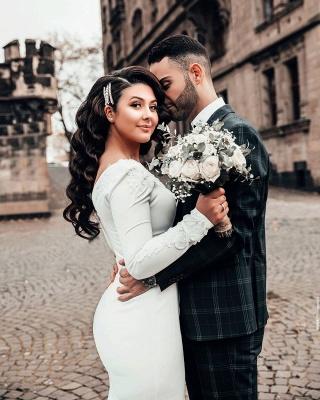 Mermaid Wedding Dress Long Sleeve Satin Bridal Gowns_4