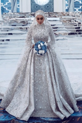 Lujoso vestido de novia con lentejuelas Aline tren de barrido de manga larga con cuello alto