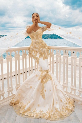 Mermaid Wedding Gowns Gold Appliques Half Sleeve Cape_2
