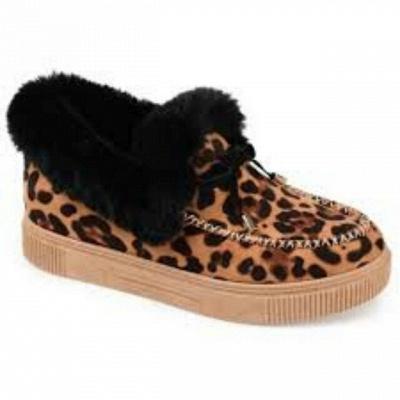 Модные теплые меховые ботинки на плоской подошве с круглым носком Daily Round Toe_9