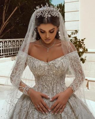 Luxuriöses Ballkleid Pailletten Brautkleid Langarm Satin Maxikleid_6
