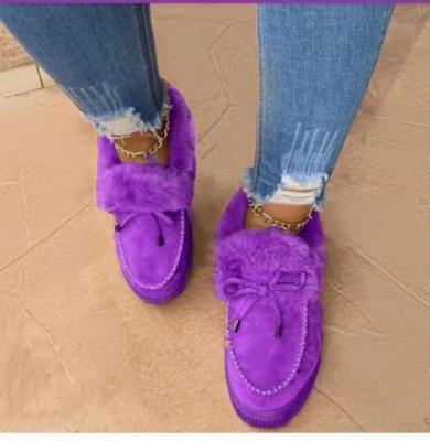 Модные теплые меховые ботинки на плоской подошве с круглым носком Daily Round Toe_7