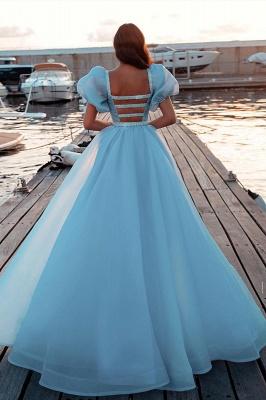 Himmelblaue Prinzessin Meerjungfrau Abendkleider mit Sweep Train Kurzarm Partykleider_2