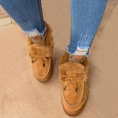 Модные теплые меховые ботинки на плоской подошве с круглым носком Daily Round Toe_11