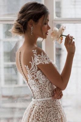 Chic Schulterfreies Blumen Schlankes Brautkleid in A-Linie_4