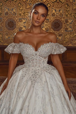 Off Shoulder Aline Ball Gown Wedding Dress Floral Lace_2