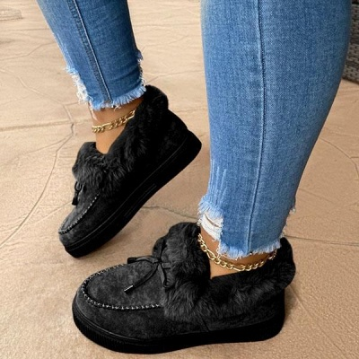 Модные теплые меховые ботинки на плоской подошве с круглым носком Daily Round Toe_5