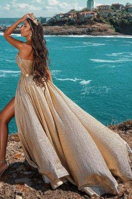 Vestido maxi de fiesta de noche con frente dividido sin mangas con purpurina Vestido de fiesta de boda_4