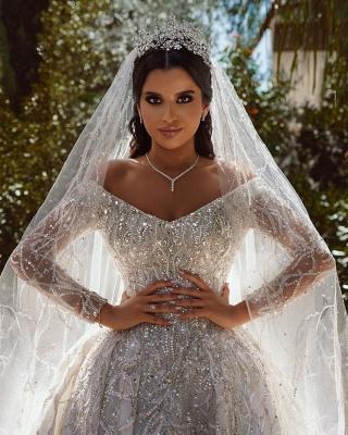 Vestido de fiesta de lujo con lentejuelas Vestido de novia Vestido largo de satén de manga larga_7
