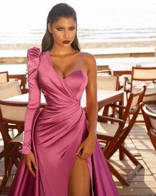 Атласные вечерние макси-платья на одно плечо с разрезом по бокам и со шлейфом_3