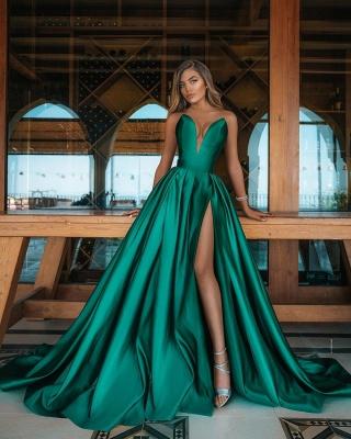 Deep Double V-neck Evening Maxi Dress Satin Side Split Party Gowns_2