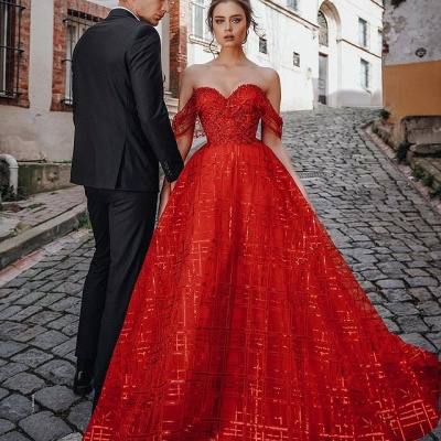Unique Red Off-the-shoulder Sparkle Puffy Evening Dress_2