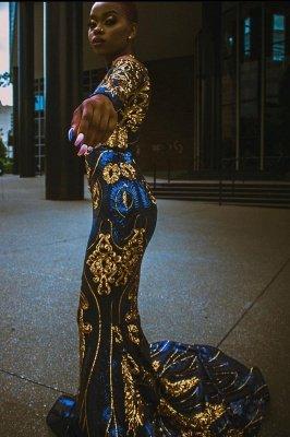 Meerjungfrau Ballkleid Sexy Langarm Abendkleid_1