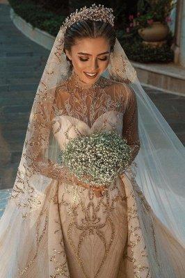 Luxuriöse Meerjungfrau Gold Pailletten Brautkleider Muster Sweep / Trumpt Zug_4