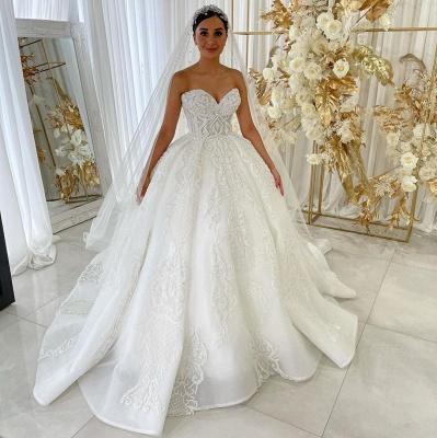 Sweetheart Princess A-line Vestidos de novia Apliques de encaje de jardín Vestido para novia_2