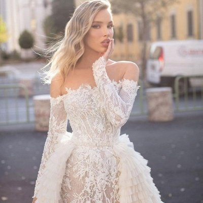 Off the Shoulder Wedding Gown Long Sleeve Floral Mermaid with Detachable Train_6