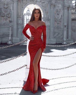 Бордовое вечернее платье русалки с разрезом на рукавах, сексуальное вечернее платье_2