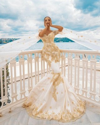 Mermaid Wedding Gowns Gold Appliques Half Sleeve Cape_4