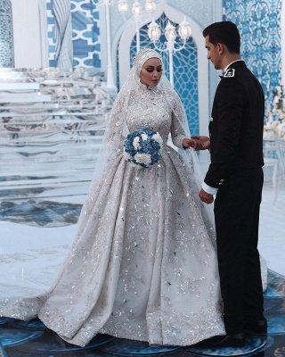 Lujoso vestido de novia con lentejuelas Aline tren de barrido de manga larga con cuello alto_4