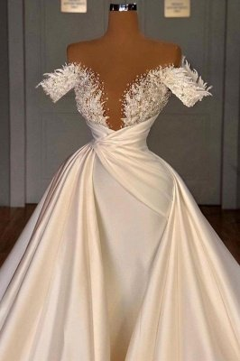 Off the Shoulder Sequined Fur Satin Wedding Party Gown Sleeveless/Long Sleeves styles_3