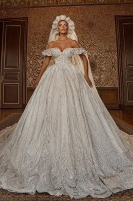 Off Shoulder Aline Ball Gown Wedding Dress Floral Lace