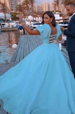Sky Blue Princess Mermaid Evening Gowns with Sweep Train Short Sleeve Party Gowns_4