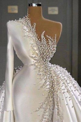 Очаровательные одно плечо атласные свадебные платья русалки жемчуг бисером вечерние платья_2