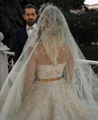 Luxuriöse Meerjungfrau Gold Pailletten Brautkleider Muster Sweep / Trumpt Zug_10
