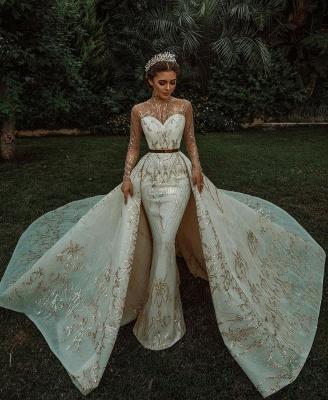 Luxuriöse Meerjungfrau Gold Pailletten Brautkleider Muster Sweep / Trumpt Zug_6