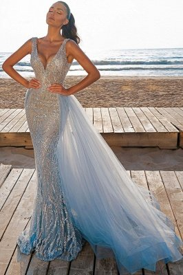 Elegant V-Neck Slim Prom Party Gowns with Detachable Train Mermaid Evening Dress